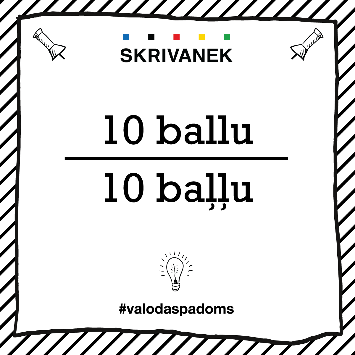 "Skrivanek Baltic valodas padoms ""10 ballu"" pret ""10 baļļu"""