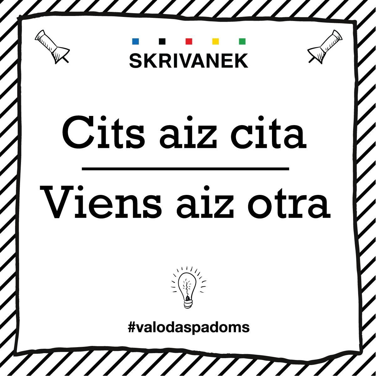 """Skrivanek Baltic valodas padoms """"Cits aiz cita"""" pret """"Viens aiz otra"""""""