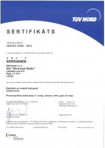 SO/IEC 27001:2013 sertifikāts