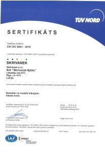 EN ISO 9001:2015 sertifikāts
