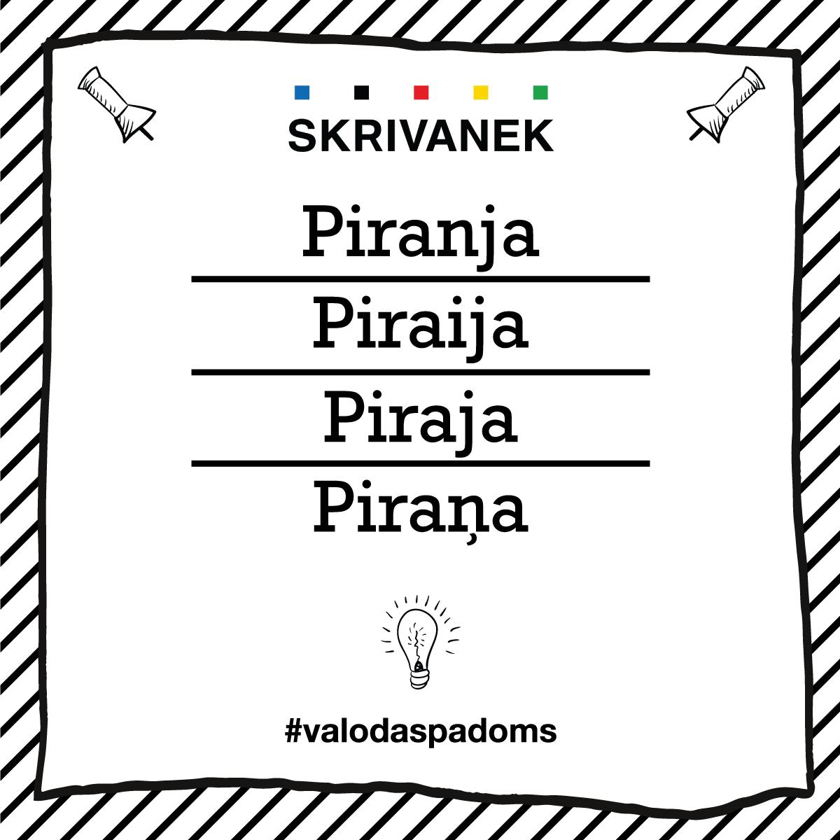 """Skrivanek Baltic valodas padoms """"Piranja"""" pret """"Piraija"""" pret """"Piraja"""" pret """"Piraņa"""""""