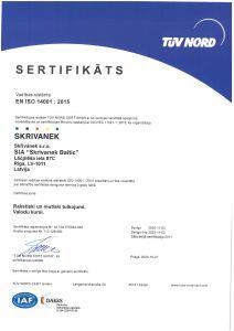 EN ISO 14001:2015 – vides vadības sistēmas sertifikāts