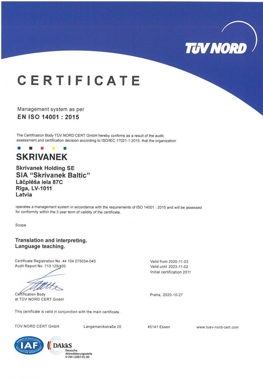 EN ISO 14001:2015 – ENVIRONMENTAL MANAGEMENT SYSTEM