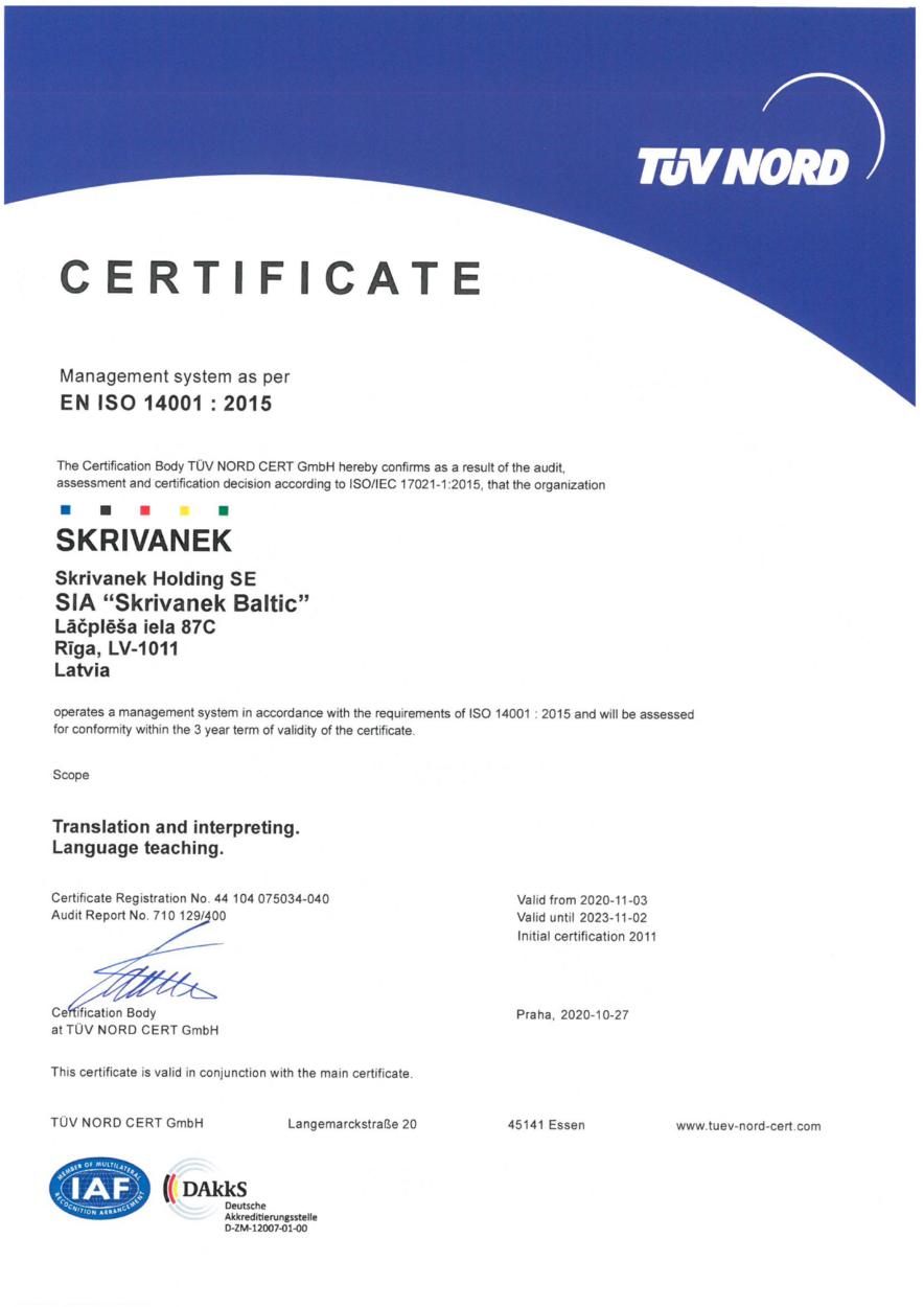 ENVIRONMENTAL MANAGEMENT certificate