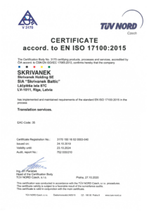 TRANSLATION MANAGEMENT STANDART certificate