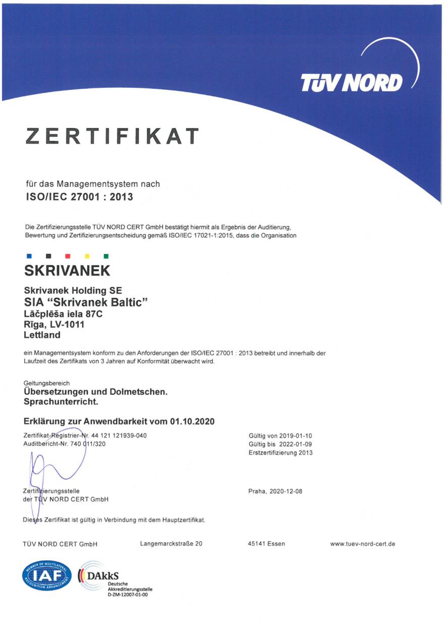 Informācijas drošības vadības sistēmas sertifikāts